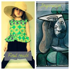 """Inspired by Art: Odds of Pink was inspired by Pablo Picasso's  """"Woman in a green hat"""" (1947) and 1940's style to make this peplum dress/top. #sew #ProjectRunandPlay #SewandMake #Inspiration"""