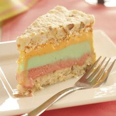 Rainbow Sherbet Dessert Recipe from Taste of Home -- shared by Kathryn Dunn of Axton, Virginia
