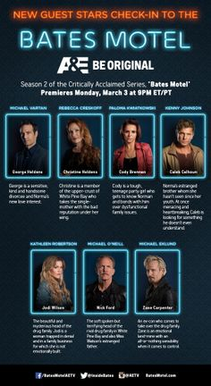 """""""Bates Motel"""" guest stars infographic. Image credit: A&E Network."""