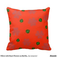 Pillow with Heart Flowers on Red Background