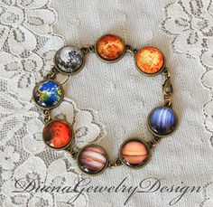 Solar System Bracelet Earth Bracelet Moon by DianaJewelryDesign