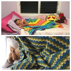 Rainbow Ripple & Leaping Stripes & Blocks - the white on the rainbow blanket was done with a slip stitch across the front surface