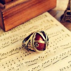 $2.49 Retro Style Carved and Gemstone Inlaid Ring