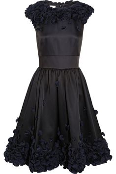 Temperley London | Flora ruffle-appliquéd satin dress | NET-A-PORTER.COM