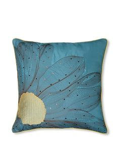 "Pillow with Flower Detail, Teal, 20"" x 20"" at MYHABIT"
