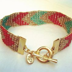 Turquoise & Red Chevron Gold Tone Toggle Beaded Bracelet by wowpow, $35.00