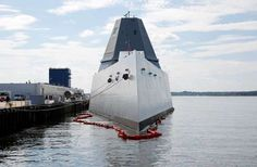 The USS Zumwalt sits at dock at the naval station in Newport, R.I., Friday…