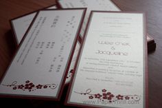 Chek's Chinese flower wedding card | Malaysia wedding invitations, greeting cards and bespoke cards, handmade by PaperThrill