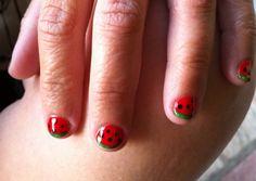 Watermelon nails  #nail #nails #nailart www.nailartparaprincipiantes.wordpress.com Fruit Nail Art, Watermelon Nails, Cute Fruit, Nailart, Wordpress