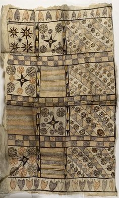 early 20th-century Polynesian tapa cloth with natural organic dyes in pleasing floral and geometric designs.  Called cloth, but made from bark.  My grandmother brought one home for my brother in the 1950's.  Beautiful color & pattern, but a paper-like feel.