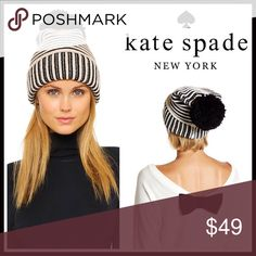 ⭐⭐ KATE SPADE Black & Ivory Pom Pom Beanie 💟NEW WITH TAGS💟  RETAIL PRICE: $58  KATE SPADE Black & Ivory Pom Pom Beanie  * Super soft knit construction   * Rib trimmed fold over cuff   * Stretch-to-fit style, one size fits most   * Cozy & comfortable   * Large black Pom Pom back detail     * Well made  Fabric- 70% acrylic, 30% wool  Color- Striped black & cream  Item#:   🚫No Trades🚫 ✅ Offers Considered*✅  *Please use the blue 'offer' button to submit an offer kate spade Accessories Hats
