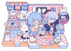 Kawaii Chibi, Cute Chibi, Kawaii Art, Anime Chibi, Cute Art Styles, Cartoon Art Styles, Cute Little Drawings, Cute Drawings, Arte Horror