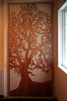 Custom Cabinet Oak Tree Laser-cut Panels