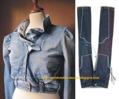 calça jeans em jaqueta