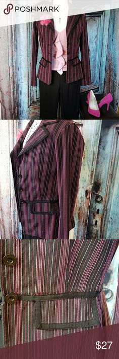 Pinstripe Jacket black/pink/fuchsia Girl Boss type unlined and long sleeved jacket.  Black, Pink, and Fuchsia pinstripe stitching. All inside seams are finished beautifully.  24 inches from back of collar to bottom of hemline. BISOU BISOU Jackets & Coats Blazers