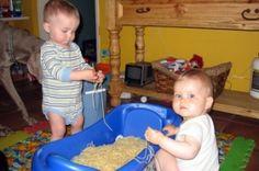 Sensory table ideas--love the idea of using the infant tub as a sensory bin!!