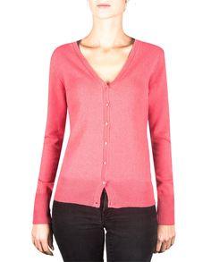 Damen Kaschmir Strickjacke Cardigan V-Ausschnitt virtual pink front