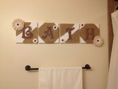 Adorable Bathroom Decor, Perfect For A Country Style Bathroom. 8x8 Canvas  Squares, Burlap