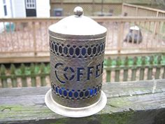 Sheffield Silverplate Coffee Cannister With Spoon, Blue Plastic Insert, Hammered Finish, Vintage Kitchen Decor, by junkblossoms2 on Etsy
