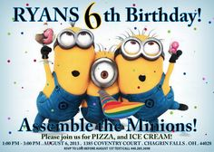 5x7 Despicable Me Invitation FREE goodie bag labels and minion eyes with purchase  Printable Minions Birthday Party Invite Print Custom via Etsy