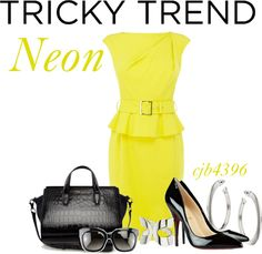 """Tricky Trend: Neon"" by cjb4396 ❤ liked on Polyvore"
