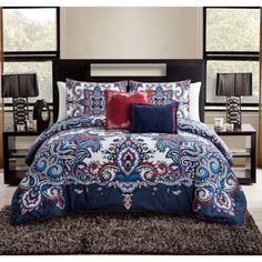 NEW-Full-Queen-King-Bed-Red-White-Navy-Blue-Paisley-Damask-5-pc-Comforter-Set