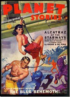 Planet Stories Blue Behemoth SF Pulp Cover