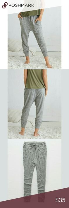 Grey Aerie Super Soft Harem Pants Joggers Medium Aerie Brand Size Medium Grey color Super soft material Harem pant style Worn twice  74% Viscose 21% Polyester 5% Elastane  *Stock photos are not of the actual item  *Tags Joggers, lounge, pajama, Victoria's secret, lularoe, Lucy, lucky, express, Abercrombie and Fitch, Hollister, American eagle, around, PAC sun, Roxy, Billabong, Hurley, Volcom, rue 21, forever 21, Charlotte russe, guess, gap, old Navy, j crew, banana republic aerie Pants Track…