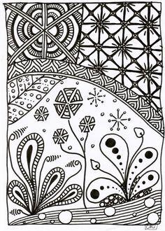 Je me suis lancée dans le gribouillage façon zentangle depuis quelques mois déjà... Et j'aime ajouter de la couleur à mes petits dessins. Alors naturellement, j'ai proposé à mes élèves un coloriage d'inspiration zentangle pour travailler les couleurs...