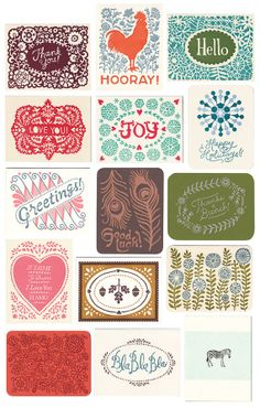 KombiPack von neun BuchdruckGrußkarten von MorrisandEssex auf Etsy, $28.00