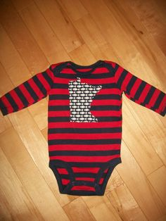 This Minnesota baby onsie is upcycled into a very cool piece for that little MN baby fish lover!! It is navy & red (color didnt come through very= SOLD