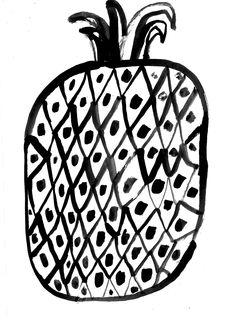 Pineapple by Marcus Oakley Food Illustrations, Illustration Art, Pineapple Illustration, Collages, You Draw, Silk Screen Printing, Spirit Animal, Illustrators, Artsy