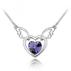a4ea6245b Sparkling Dark Purple Colored Winged Heart Charm Necklace 370 *** See this  great product