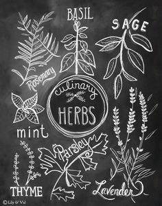 Kitchen Art - Kitchen Print - Culinary Herbs Print - Kitchen Chalkboard Art - Chalk Art- Hand Drawn Art Kitchen Art Kitchen Print Culinary Herbs Print by LilyandVal Kitchen Chalkboard, Chalkboard Print, Chalkboard Lettering, Chalkboard Designs, Chalkboard Drawings, Summer Chalkboard Art, Blackboard Art, Kitchen Prints, Kitchen Art