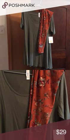 Outfit Xxs olive green perfect T, bnwt And burnt orange tribal design leggings LuLaRoe Other