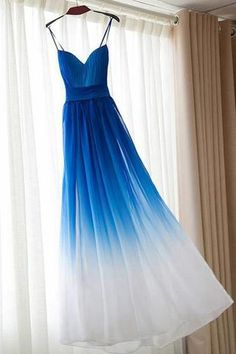 Spaghetti Straps Royal Blue Ombre Elegant Cheap Prom Dresses Evening Dress Bridesmaid Dress LD572