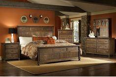 couleur pour chambre moderne, peinture murale couleur ocre, meubles exotiques en bois massif et parquet contrecollé