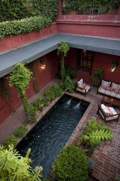 Beautiful courtyard pool. Would love to have one long and narrow enough for exercise laps.