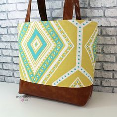 Lulu Large Tote Diaper Bag  Greta Saffron and PU Leather  READY to SHIP Zipper Closure 6 pockets Purse Beach Travel Tote by marandalee on Etsy