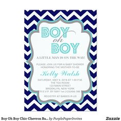 "Boy Oh Boy Chic Chevron Baby Shower Invitation 5"" X 7"" Invitation Card"