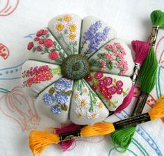 Pincushion, Hand Embroidered Flowers- fiberluscious on etsy