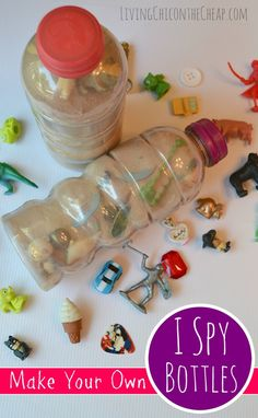 "***Make Your Own ""I Spy"" Bottles*** Here is a fun DIY you can make for your kiddos on the cheap! DIY I Spy Bottles! I originally made this craft two years ago. The finished bottles featured in this post are from 2013. It is funny because every few months my kids find these bottles, pull them out, go on a treasure hunt and then the disappear back into the toy box. Still, pretty good longevity for an easy, inexpensive, upcycle craft. #DIY #Crafts #Craftsforkids #kids"