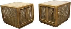 Mid-Century Cane Cabinets -  A Pair  on Chairish.com