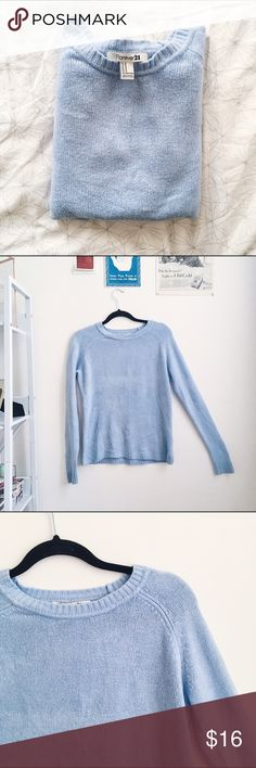 Sky Blue 🌤 Sweater The sky/robin's egg blue of this sweatshirt is so deep and beautiful - the knit is lovely (100% acrylic) and so so soft - add long arms and you have the perfect COZY and flattering sweater - ~20in pit-to-pit, worn and washed once in great condition Forever 21 Sweaters Crew & Scoop Necks