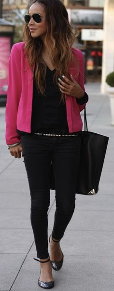 love the single pop of color with all the rest in classic black. i want this outfit please!