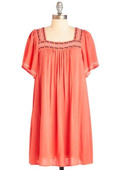 adorable coral boho dress. ModCloth