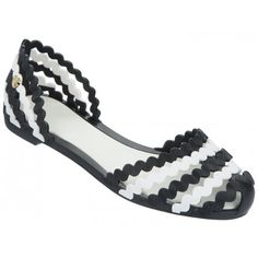 Mel Dreamed by Melissa | Sweetie Black/White Sandals | www.melshoes.com