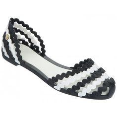 Mel Dreamed by Melissa | Sweetie Black/White Sandals | www.melshoes.com