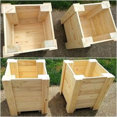 50 Unique DIY Projects with Wood Pallets reused wood pallet planters - Modern Wooden Planter Boxes Diy, Wood Pallet Planters, Wooden Pallets, Planter Ideas, Pallet Wood, Diy Planters Outdoor, Outdoor Pallet, Wood Wood, Awesome Woodworking Ideas