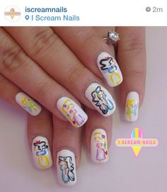 Abstract Disney princess nails